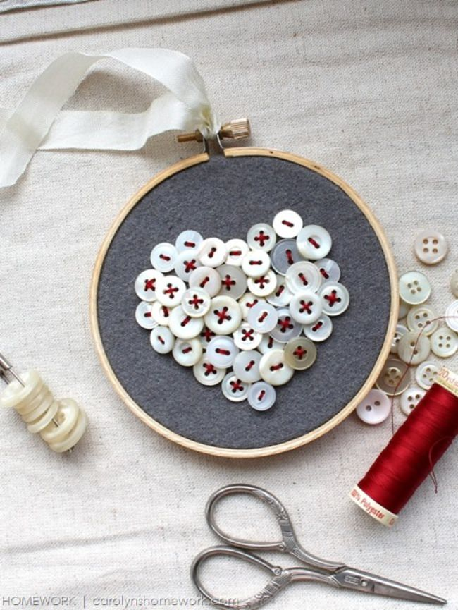 Vintage Button Heart