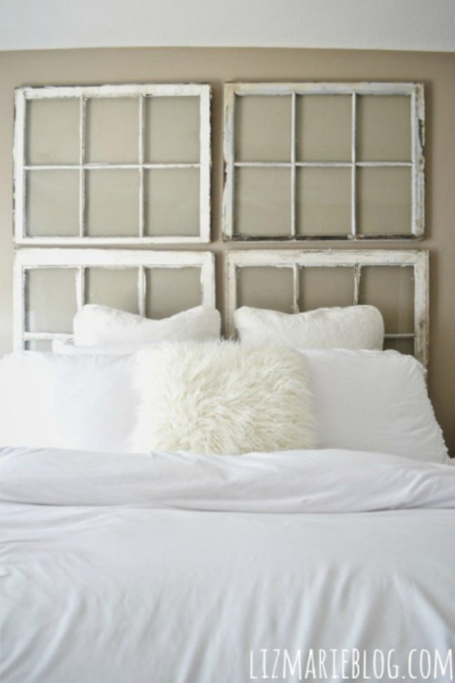 DIY Antique Window Headboard
