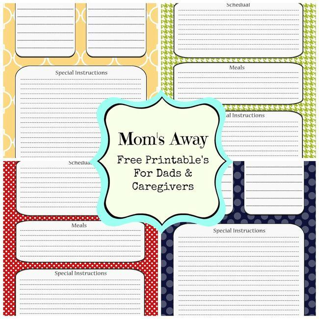 Mom's Away Free Printable