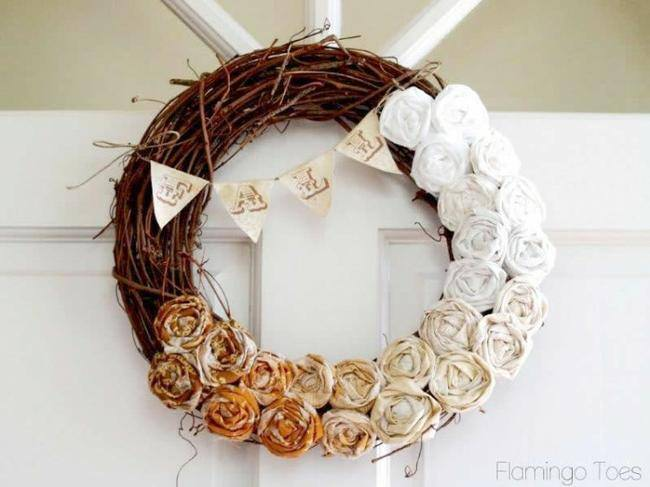 Fall Ombre Rosette Wreath