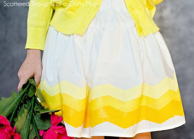 DIY Ombre Chevron Painted Skirt