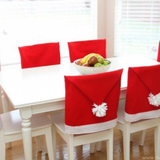 Santa Hat Chair Covers {Christmas DIY Decor}