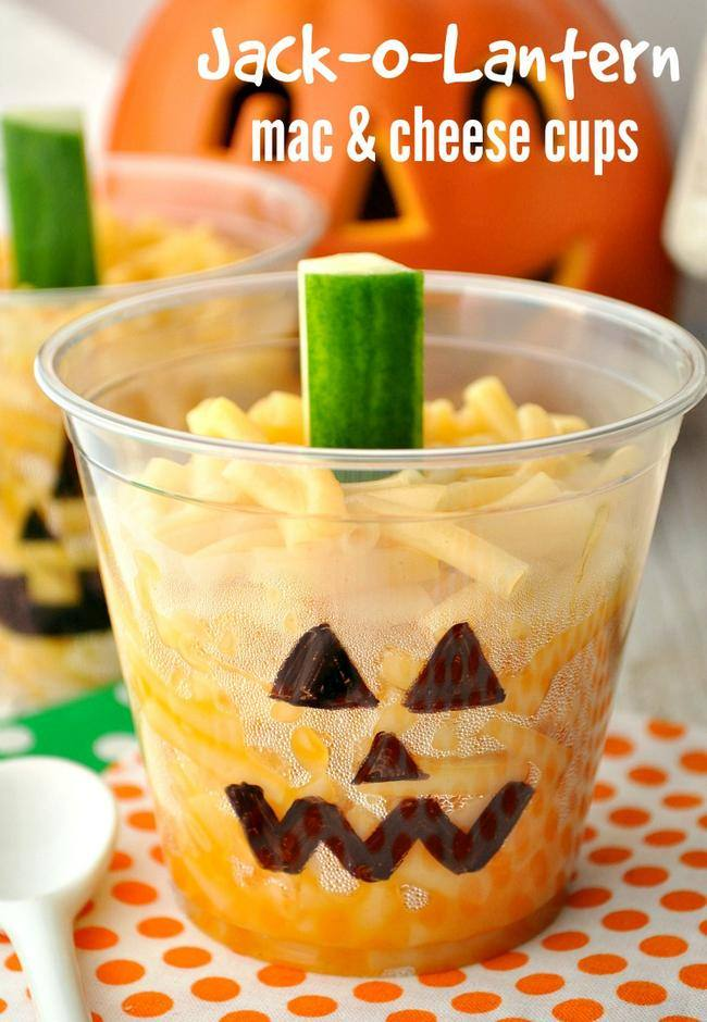 Jack-o-Lantern Mac and Cheese Cups