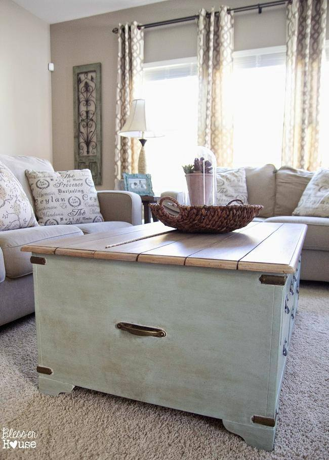 faux plank coffee table