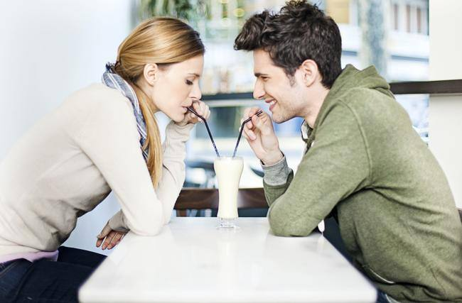 couple drinking a chocolate milkshake