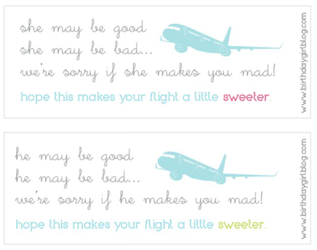 Printable Airplane Favors