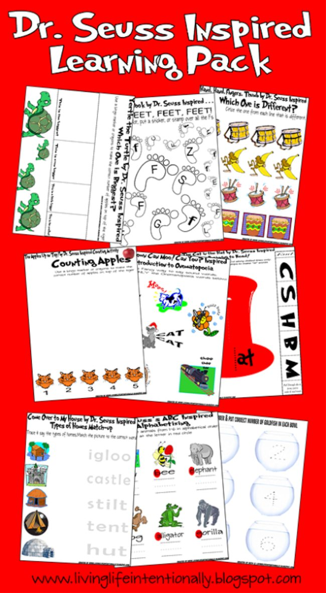 This is an image of Candid Dr Seuss Printable Activities