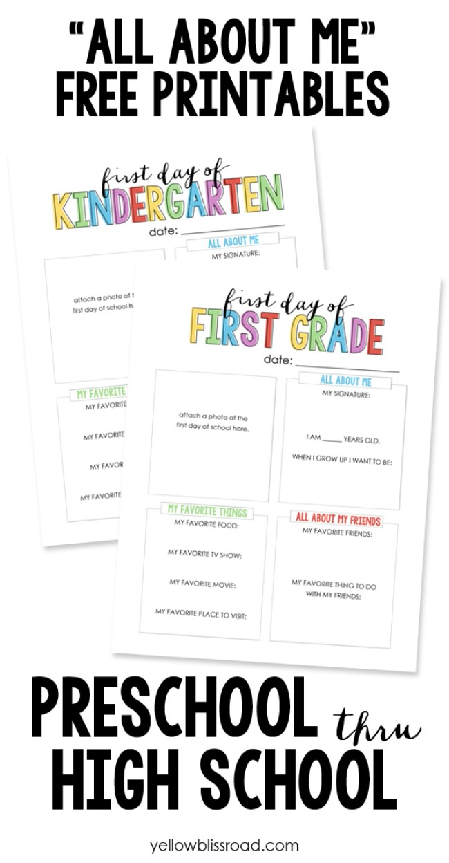 """All About Me"" Questionnaire Printables"