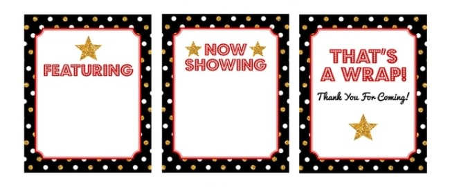 Hollywood Party Birthday Signs