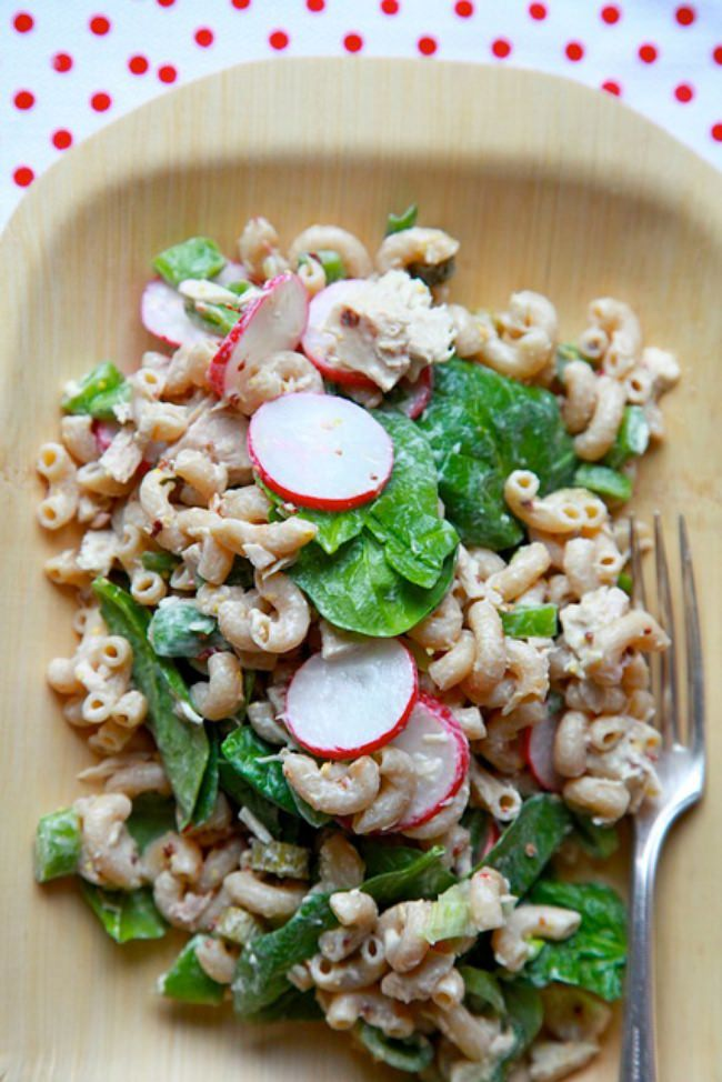 Tuna Pasta Salad with Spinach and Radishes