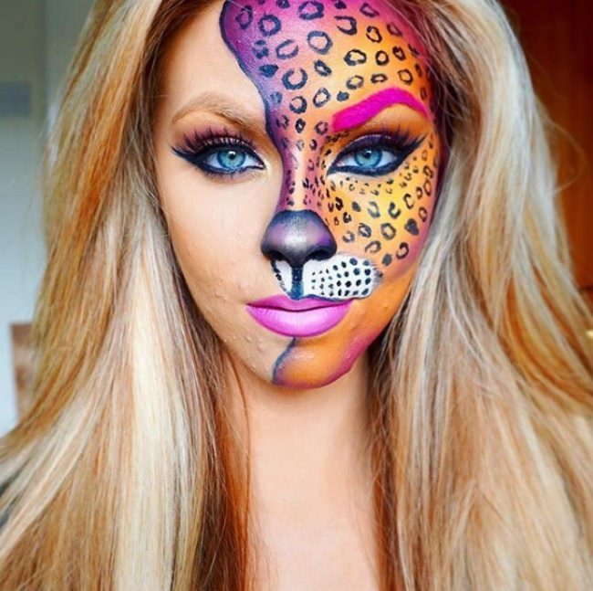 cheetah makeup if you like bold colors then this idea for making cheetah makeup is fantastic dont you love how the one eyebrow is painted in color
