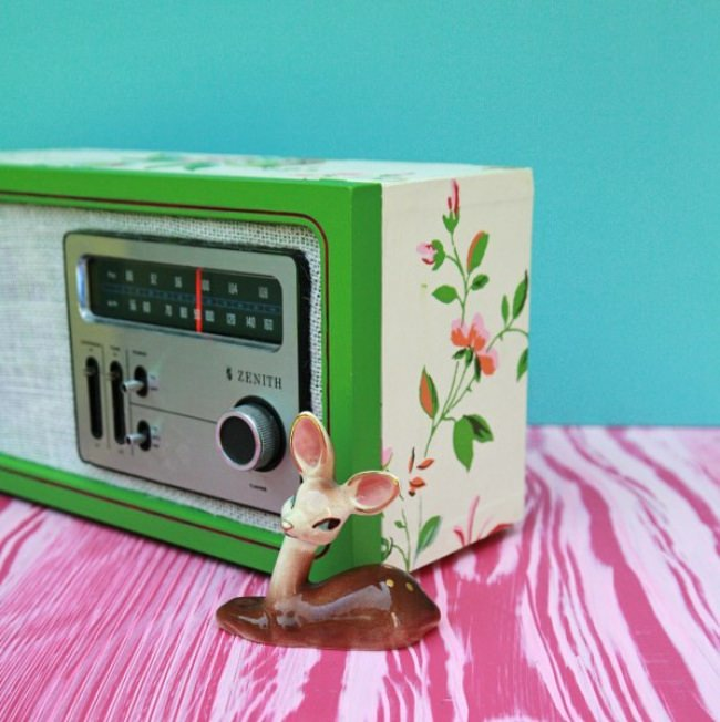 Upcycled Wallpaper Covered Radio