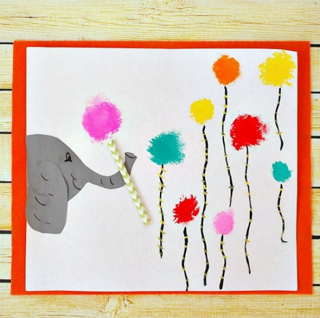 Horton Hears a Who Cotton Ball Painting