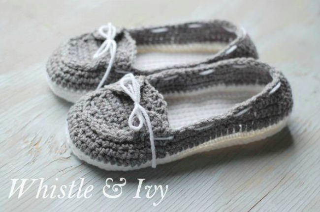 Women's Crochet Boat Slippers