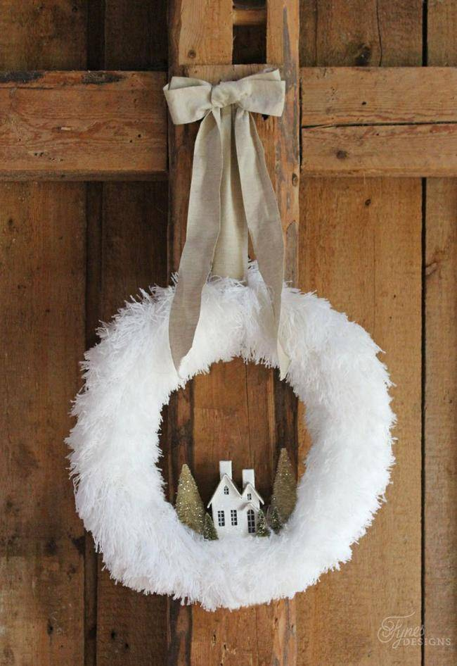 Fluffy Village Christmas Wreath