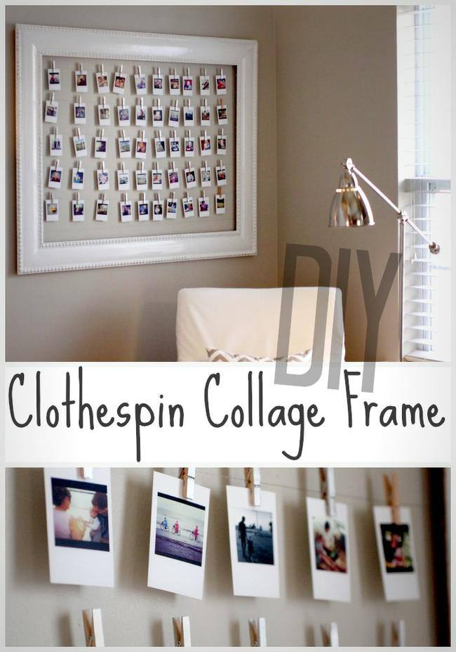 Clothespin Collage Frame