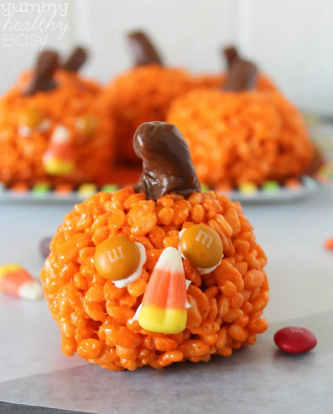 Pumpkin-Shaped Rice Krispies Treats