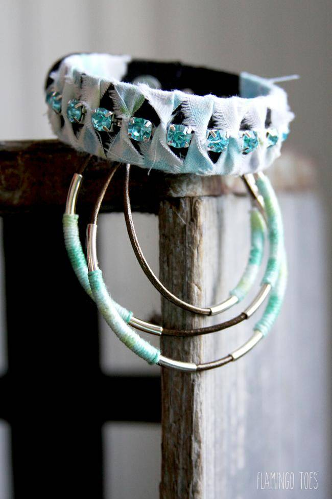 Leather and Rhinestone Wrapped Bracelet