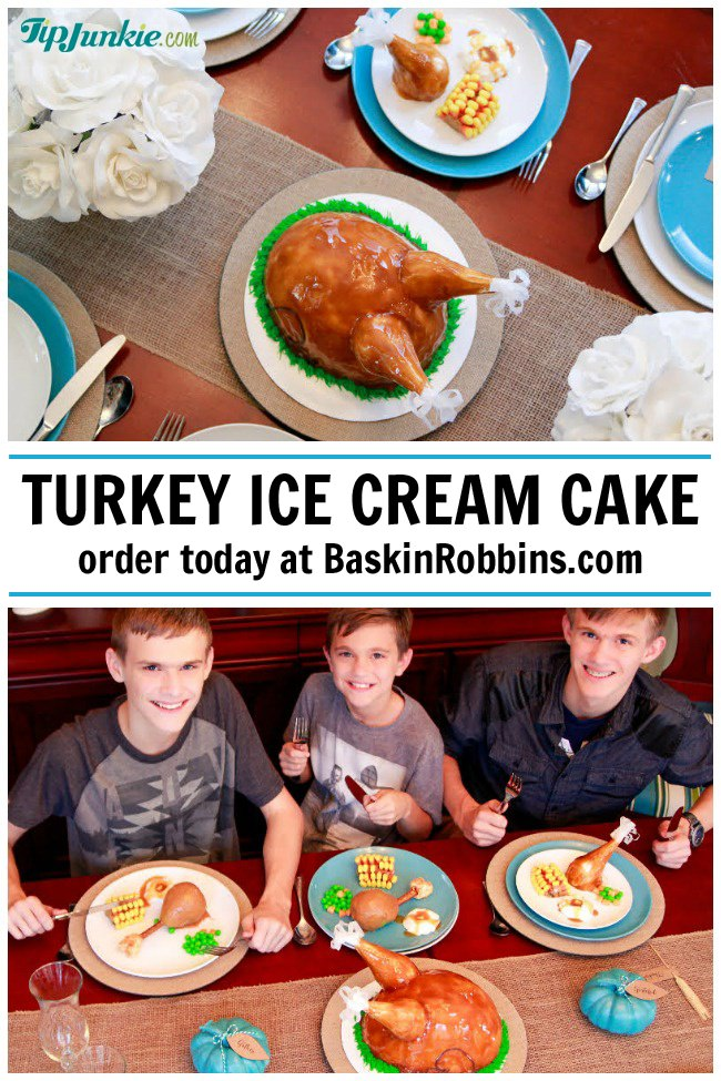 Baskin Robbins Thanksgiving table with turkey cake