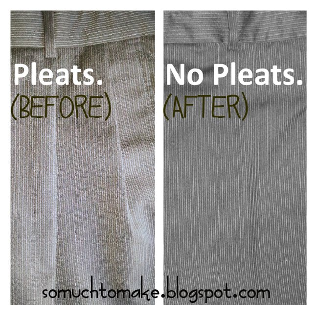 how to alter pleated pants to flat front pants