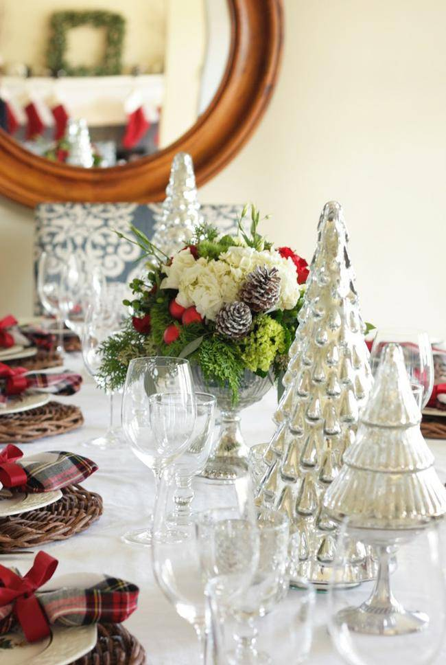 Silver and Plaid Tablescape