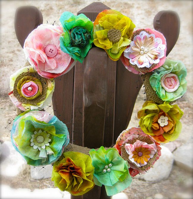 Paper Towel Spring Wreath
