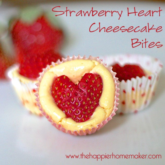 Strawberry Heart Cheesecake Bites {Valentine Recipes}