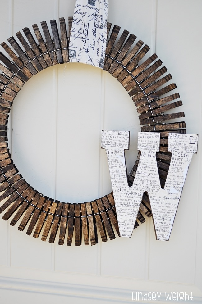 Monogram Clothespin Wreath