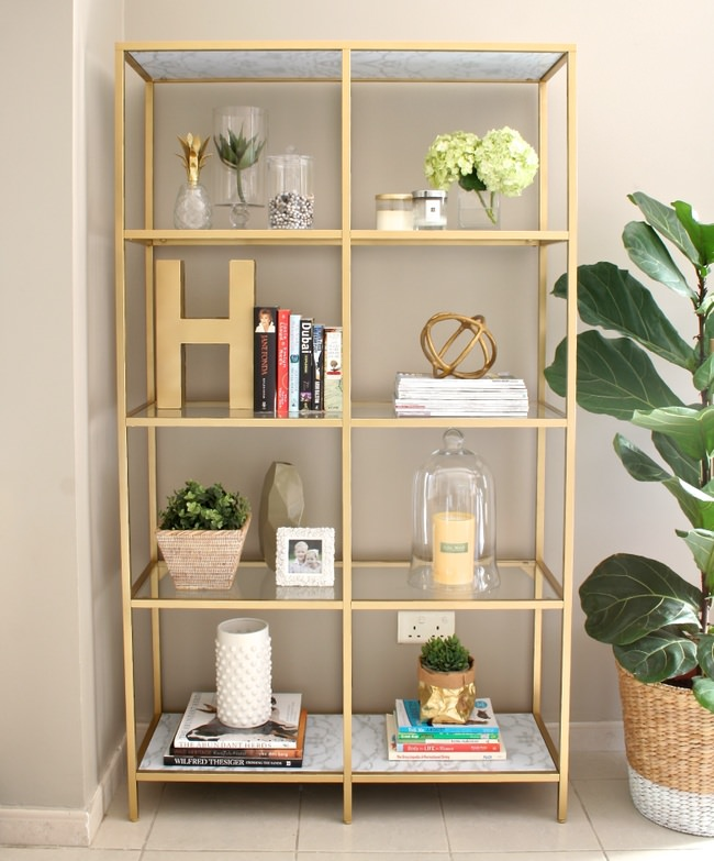 DIY Gold Bookcase