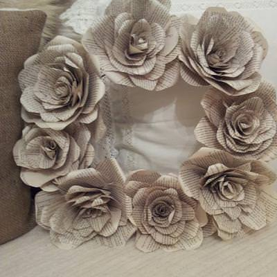 book page flower wreath
