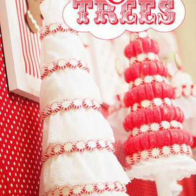 Candy & Eyelet Christmas Tree Topiaries {Christmas Decorations}