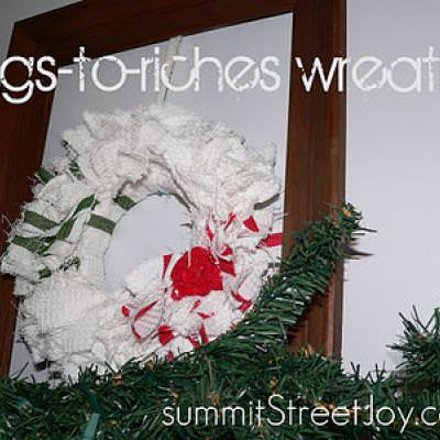 Rags to Riches DISH TOWEL Christmas Wreath