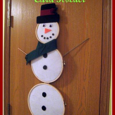 Snowman Holiday Card Holder {Christmas Cards}
