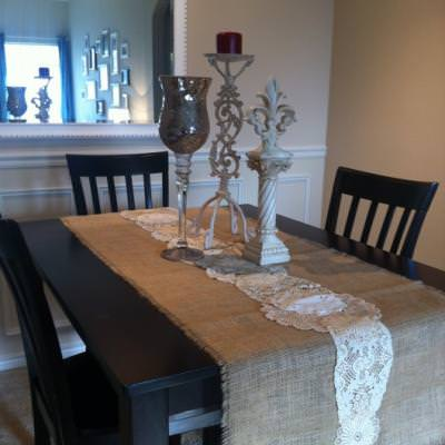 Burlap and Lace Doily Table Runner