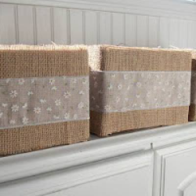 Burlap Boxes {trash to treasure}