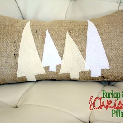 Burlap & Felt Christmas Tree Pillow