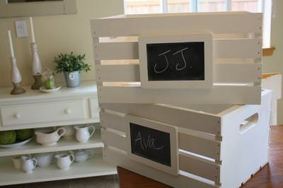 Chalkboard Crates {before and after}