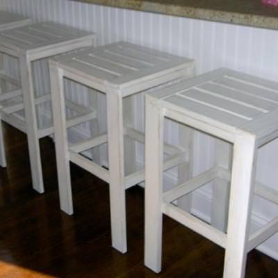 Cottage Chic Stools from Scratch! {Ottomans & Stools}