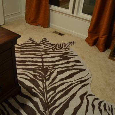 DIY Faux Zebra hide rug from drop cloth