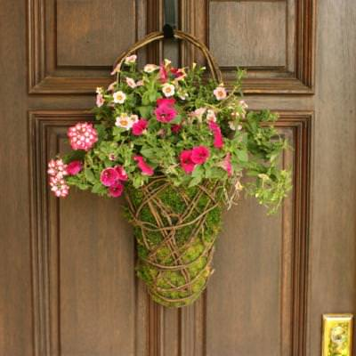 Easy Front Door Moss Basket Flower Arrangements