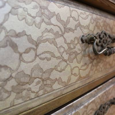 How to Create a Lace Stencil {wood finishing}