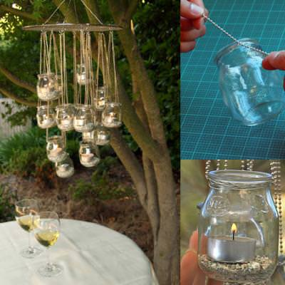 How to Make a Candle Jar Chandelier {diy light}