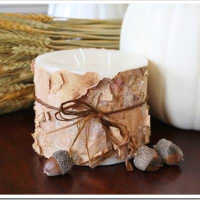How to Make Birch Bark Candles {inspired by Pottery Barn}