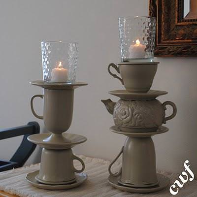 How to Make Teapot Candle Pillars {inspired by Anthropologie}