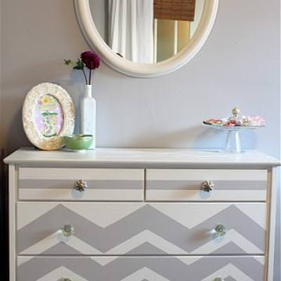 How to Paint a Chevron Dresser {painting how to}