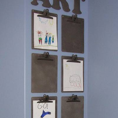 Make a Kids' Art Display Area {how to display art}