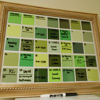 Paint Chip Dry Erase Calendar {wall decor}