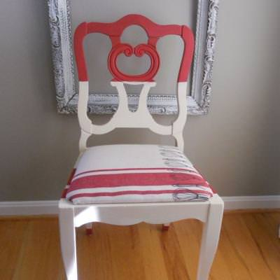 Red and White Chair {makeover}