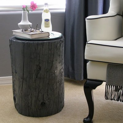 Tree Stump Side Table {how to make a table}