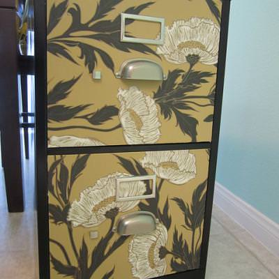 Wallpapered File Cabinet {before and after}
